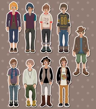 adult comic: cartoon charming young man stickers Illustration