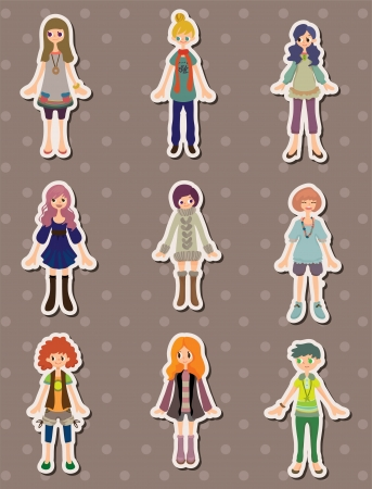 cartoon girls stickers Vector
