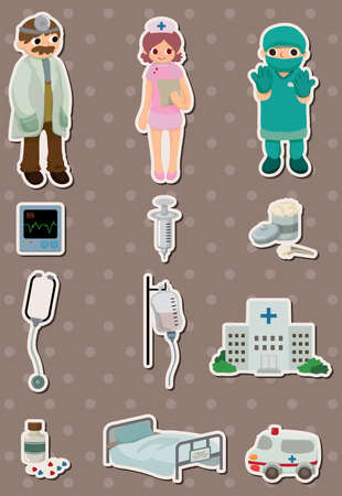 cartoon hospital stickers Vector