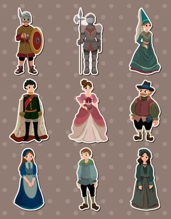 cartoon Medieval people stickers Stock Vector - 13586765