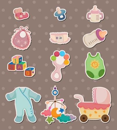 baby spullen stickers Vector Illustratie
