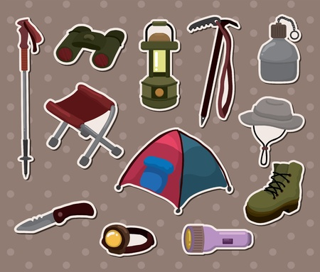 cartoon climb equipment stickers Vector