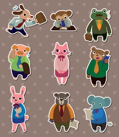 animal office worker stickers Vector