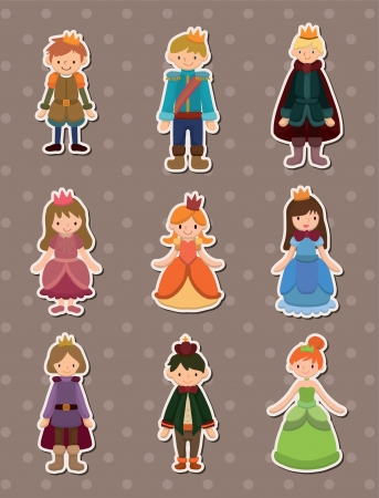 cartoon Prince and Princess  stickers Vector