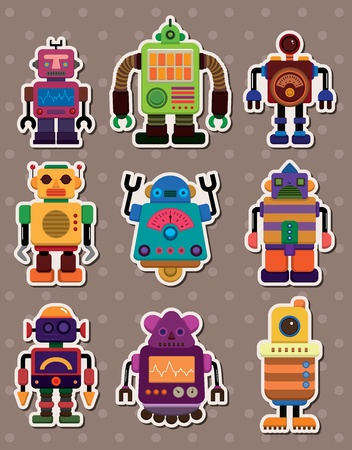 cartoon robot sticers  Vector