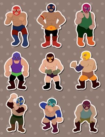 cartoon wrestler stickers Vector