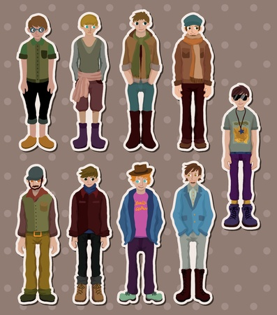 cartoon charming young man stickers Ilustrace