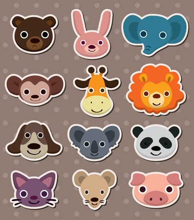 animal face stickers Stock Vector - 13586692