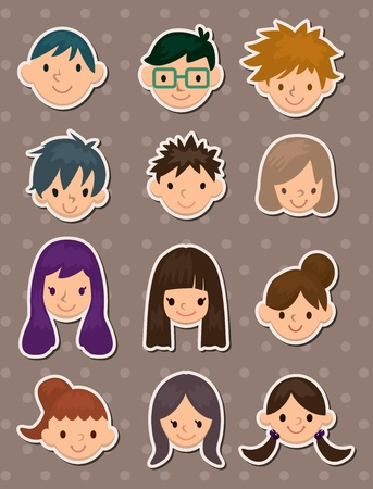 young poeple face stickers Vector