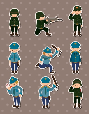 police and army stickers Vector