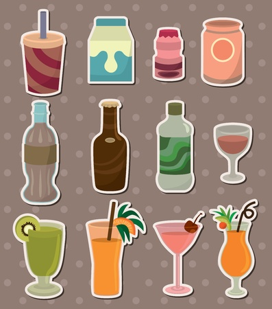bottled water: drink stickers Illustration