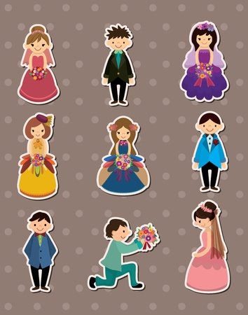 Wedding ceremony - bride and groom stickers Vector