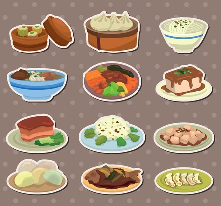 cartoon Chinese food stickers Vector