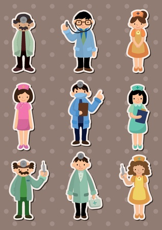 cartoon doctor and nurse  stickers Vector