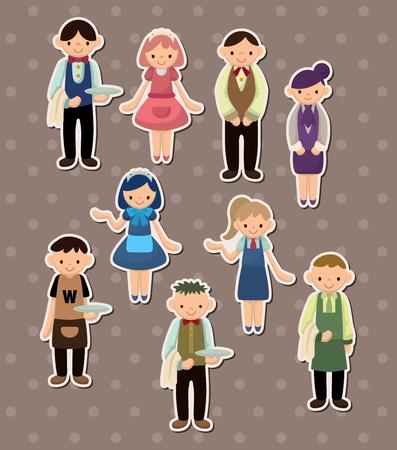 cartoon waiter and waitress  stickers Stock Vector - 13586782