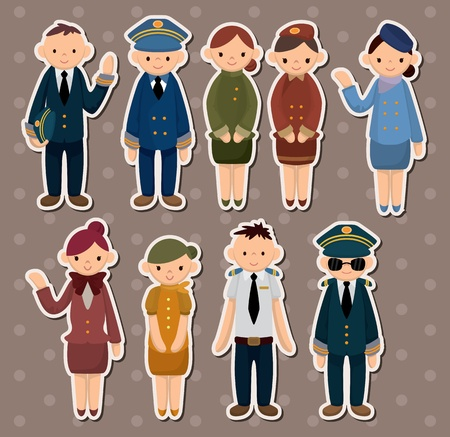 attendant: cartoon flight attendantpilot stickers Illustration