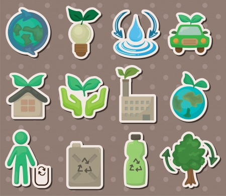eco stickers Stock Vector - 13638871
