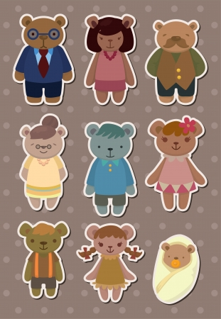 bear family stickers Vector