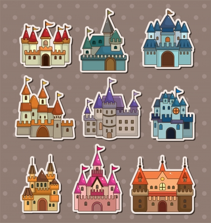 cartoon Fairy tale castle stickers Stock Vector - 13654914