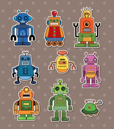 robot stickers Stock Vector - 13654913