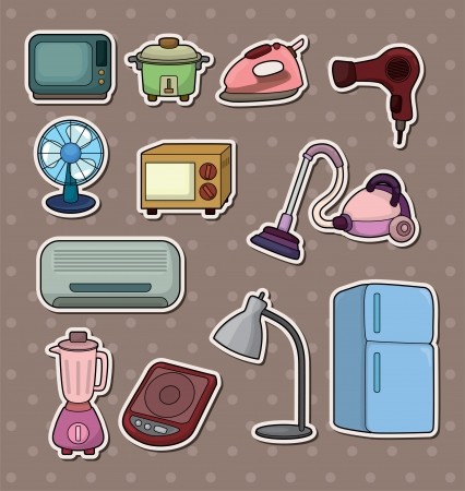 vacuuming: cartoon home Appliance stickers  Illustration