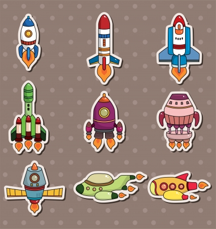 spacecraft: rocket stickers  Illustration