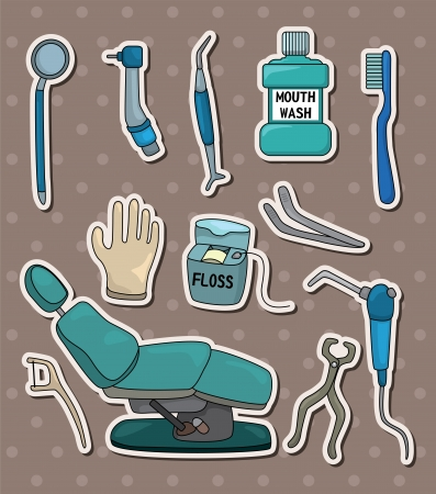 tooth pain: cartoon dentist tool stickers