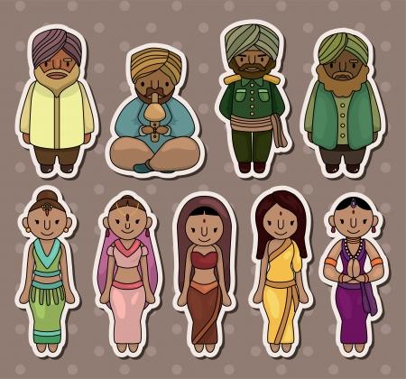 bollywood: dibujos animados pegatinas indios Vectores