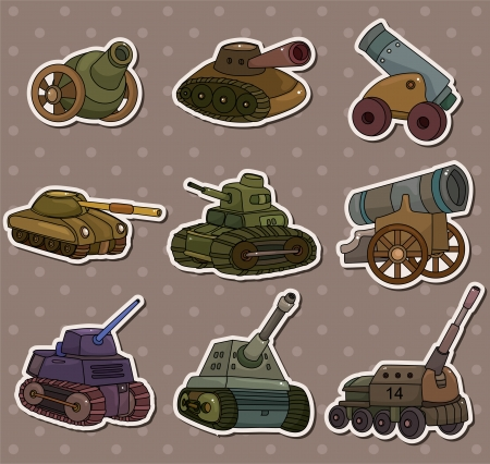 cartoon TankCannon Weapon stickers Vector