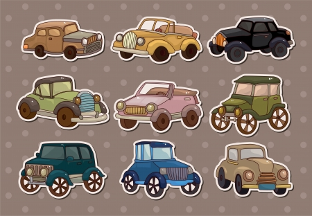 retro car stickers Stock Vector - 13706301