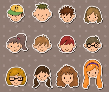 clip art draw: young people face stickers Illustration