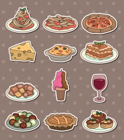 Italy food stickers Vector