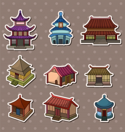 chinese temple: Chinese house stickers