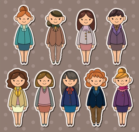 office woman stickers Stock Vector - 13766934