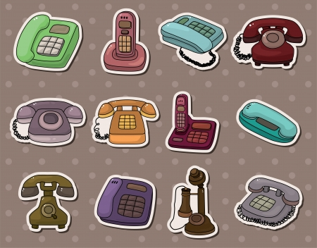 retro phone stickers Stock Vector - 13766924