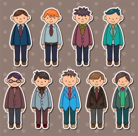 owner money: office worker stickers Illustration