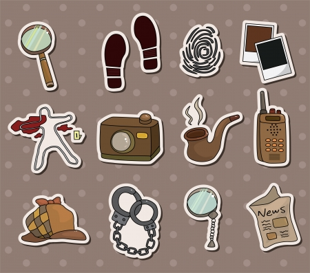Cartoon detective equipment stickers Stock Vector - 13766917