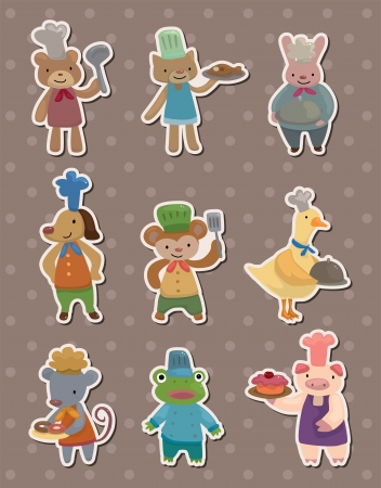 animal chef stickers Vector