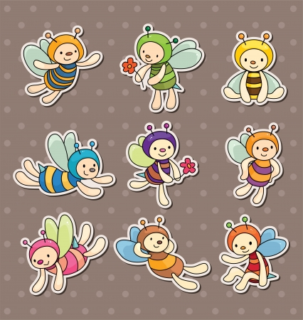 small group: cartoon bee boy stickers Illustration