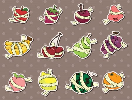 fresh fruit and ruler health stickers Vector