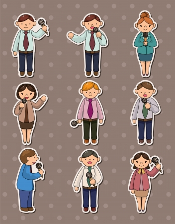 set of reporter people stickers Stock Vector - 13811764