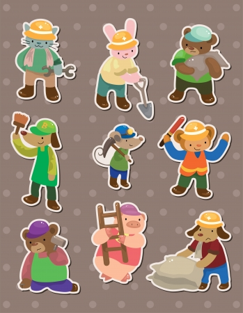 animal worker stickers Vector
