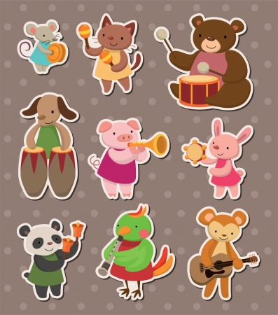animal play music stickers Vector