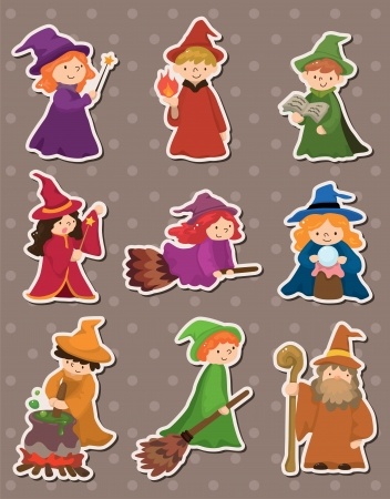 medieval woman: cartoon Wizard and Witch stickers Illustration