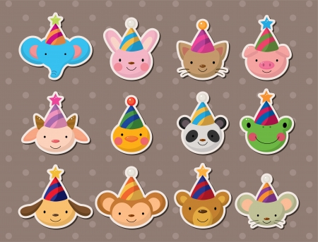 party animal face stickers 矢量图像
