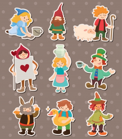 middle age woman: story people stickers Illustration