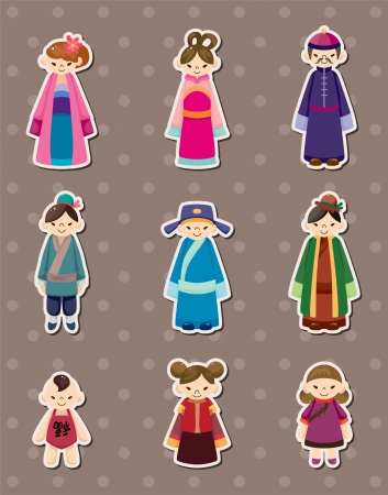 chinese dress: Chinese people stickers