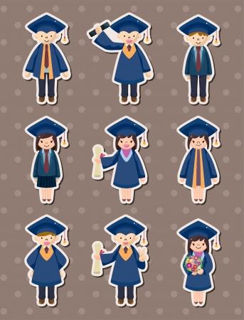Cartoon Graduate students stickers Vector