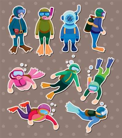 diver stickers Vector