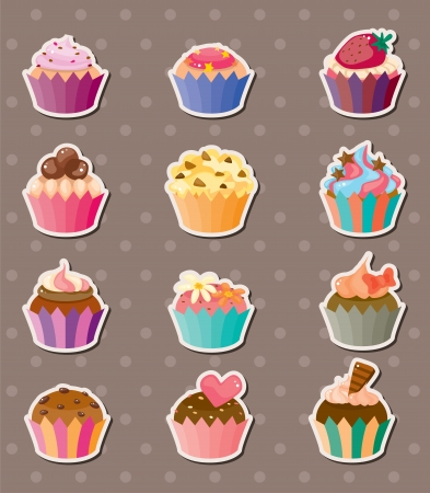 cup-cake stickers Stock Vector - 13885586